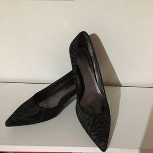 Nine West Grey and Black Zebra Print Kitten Heels